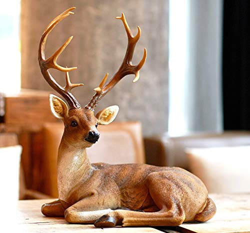 TAOBIAN Buck Big Deer Resin Statue Seasonal Decor Collectible Holiday Figurines for Home Decoration Sculpture Animal Statues for Garden Outdoor Decor