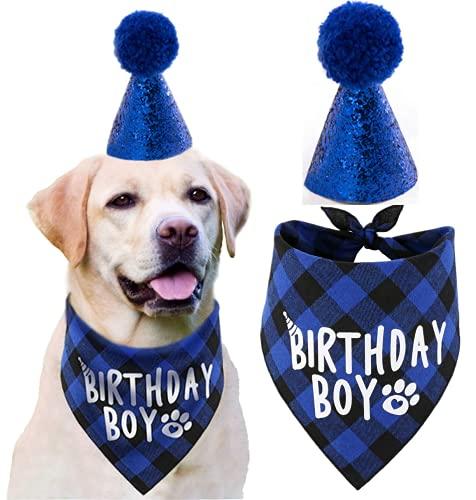 Dog Birthday Hat Bandanas Set Bi...