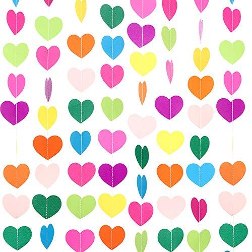 10 Decoraciones de Corazón de Papel de Cumpleaños de Color Arcoíris Banner Colgante de Corazón Guirnalda de Corazón, 65 Pies/ 21,8 Yardas/ 780 Pulg. en Total para Fiesta Boda San Valentín (9 Colores)