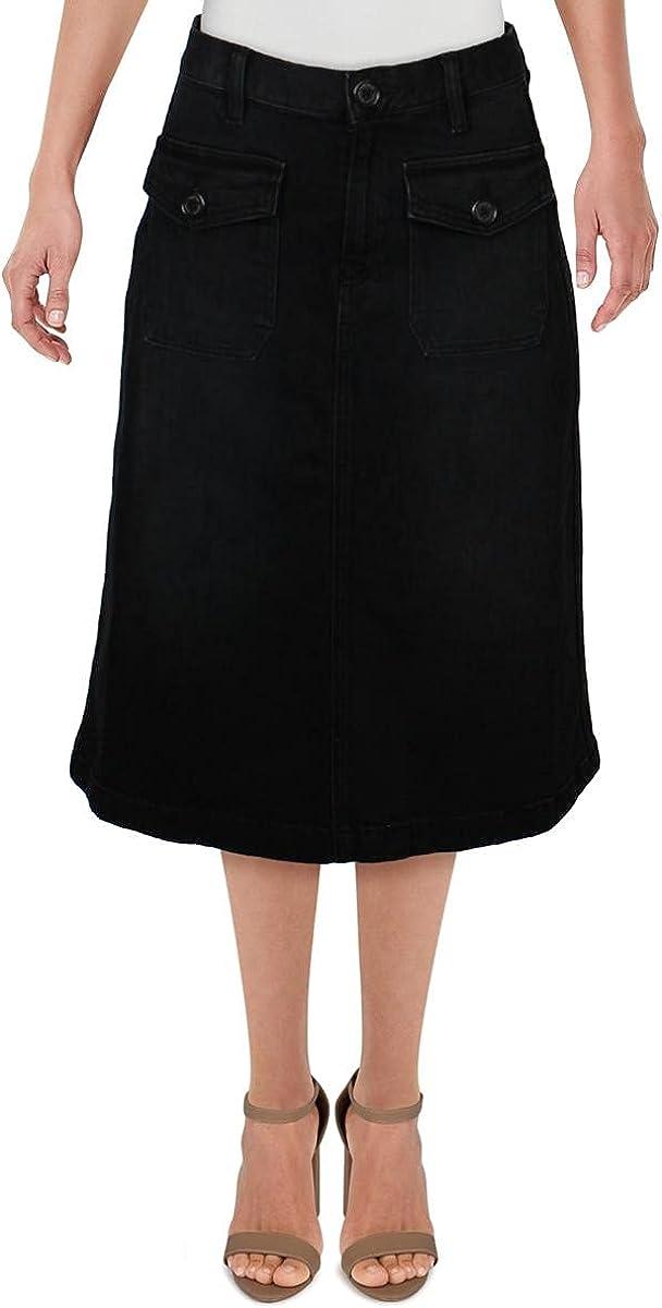 LAUREN RALPH LAUREN Womens Denim A-Line Denim Skirt