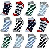LOREZA ® 12 Pares Calcetines Cortos para Niños y Niña Algodón- Modelo 3-21-24