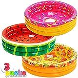 JOYIN Inflatable Kiddie Pool, Watermelon Donuts Pizza 3 Ring Summer Fun Swimming Pool for Kids, Water Pool Baby Pool for Summer Fun, 47 inches, for Ages 3+