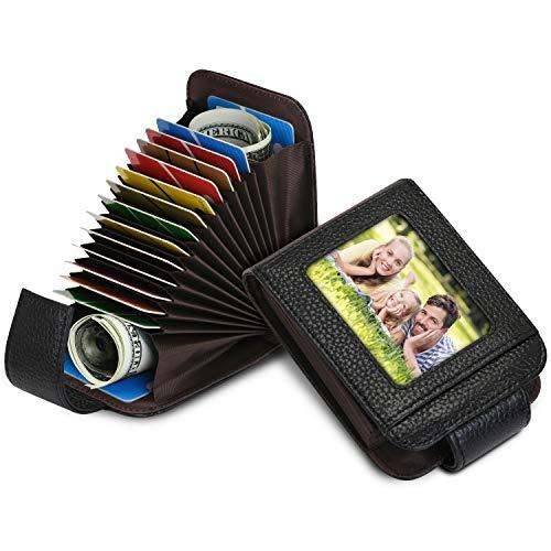 5 Colores Tarjetero para Tarjeta de Credito para Mujer Hombre RFID Tarjeta de Crédito de Cuero 13 Tarjetas (Negro)