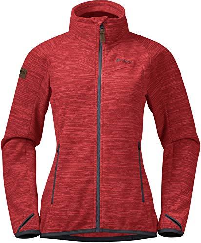 Bergans Damen Hareid Fleece Jacke, red Mel-solid dk Grey, XL