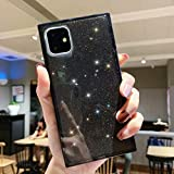 Tzomsze iPhone 11 Transparent Case, iPhone 11 Bling Glitter Case Reinforced Corners TPU Cushion,Crystal Clear Slim Cover Shock Absorption TPU Shell-Black
