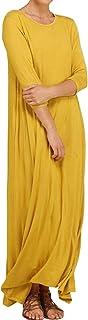 YOINS Vestido largo holgado de manga larga 3/4 para mujer, cuello redondo, holgado, con bolsillos