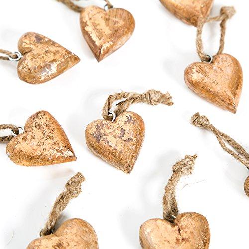 10 cuori in legno, rame, oro, Natale, 4 + 5 cm, cuore pendente, da appendere, decorazione per albero di Natale, decorazione regalo