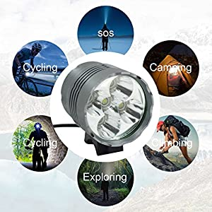 WASAGA Luces de Bicicleta, 6000 lúmenes 5 LED Luz de Bicicleta, Luz de Bicicleta de montaña Impermeable con 8400mAh Batería Recargable, 3 Modos Luces de Bicicleta Faro Frontal