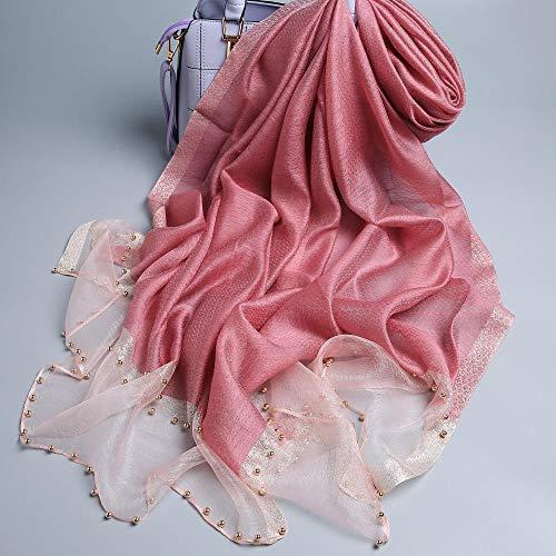 XLNSWJ Damen Seidenschal Sonnencreme Perlenschal - wunderschöne rosa
