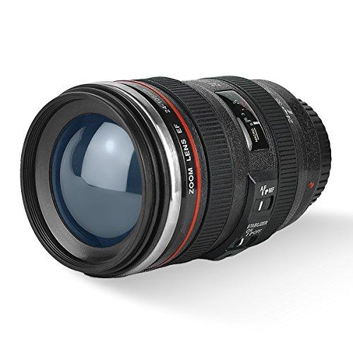 Camera Lens tazza di caffè con il pollone, LanChuon Interni in acciaio inox Tumbler Cup - il regalo freddo EF 24-105mm f / 4L IS USM