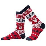 iFCOW Calcetines de copo de nieve de algodón peinado acogedor cálido calcetines de Navidad padre-hijo señora mujer niña bebé niño árbol de Navidad calcetines 1 par