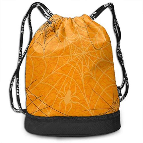 Rucksäcke,Sporttaschen,Turnbeutel,Daypacks, Happy Halloween Orange Spider Web Multifunctional Beam Drawstring Backpack Unisex Suitable for Outdoor Travel