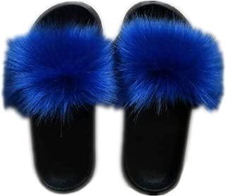 Women's Vegan Faux Fur Slippers Fuzzy Slides Fluffy Sandals Open Toe Indoor Outdoor