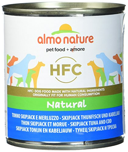 Almo nature HFC Natural - Tonno Skipjack e Merluzzo - Cibo per cani, Confezione da 12 pezzi x 290 g