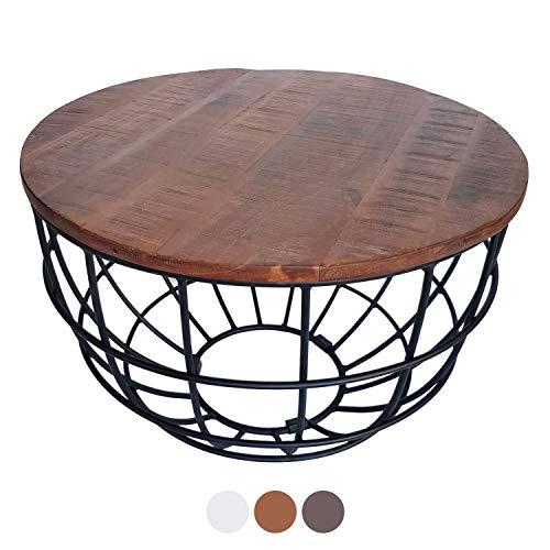 casamia Couchtisch Wohnzimmer-Tisch Beistelltisch Metallgestell rund oder eckig Verschiedene Modelle Farbe Lexington ø 75 cm braun - Bassano