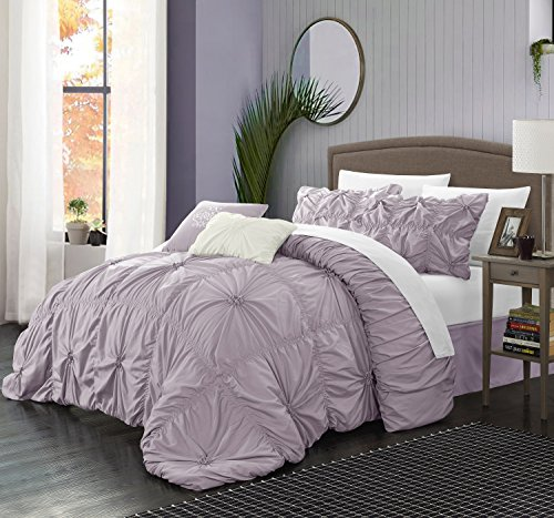 Perfect home 6 Piece Ramanda Floral Pinch Pleat Ruffled Designer Embellished Comforter Set, Queen, Lavender