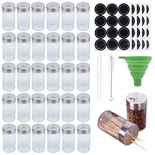 RQUKWRD Juego de 30 tarros especias cristal redondos, capacidad 120 ml, perfecto...
