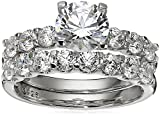Amazon Collection Platinum-Plated Sterling Silver Swarovski Zirconia Round Cut Ring Set, Size 7