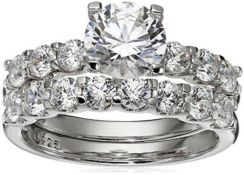 Amazon Collection Platinum-Plated Sterling Silver Swarovski Zirconia Round Cut Ring Set  Size 7