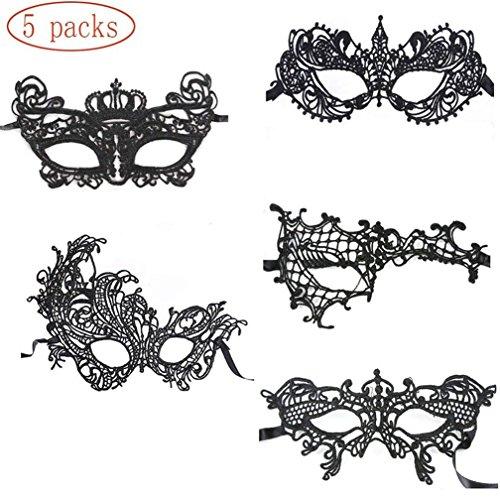 SXYHKJ 5 Piezas Máscara de Encaje Máscara de Mujeres Veneciano Antifaz para Halloween Mascarada Carnaval Fiesta de Baile (Negro)