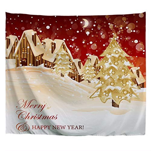 A.Monamour Tapices Noche De Navidad Casas De Madera Color Champán Fondo Decoraciones Navideñas Impresión Boho Hippie Mandala Tapiz Tapices Colcha Cortina Toalla De Playa Mantel 180x230cm