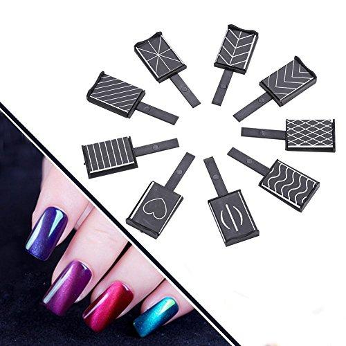 Lot de 11 aimants pour ongles - 3D - Œil de chat - Pour vernis à ongles LED - Gel UV - Bâton magnétique pour nail art