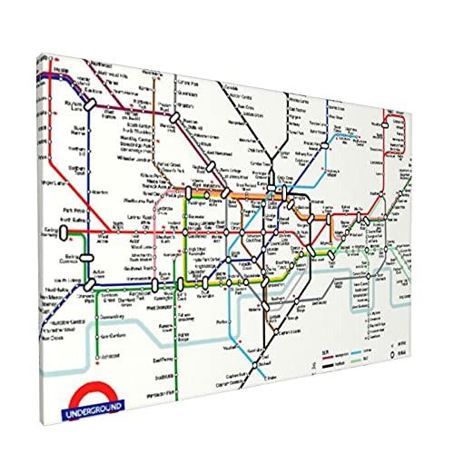 Arte de pared,Mapa De La Ciudad De Metro De London Rail Tra,pinturas al óleo enmarcadas impresas en lienzo Obra de arte moderna para sala de estar dormitorio decoración de pared de oficina