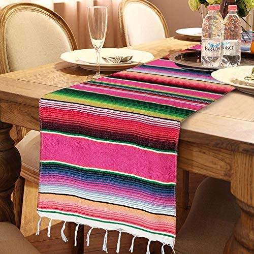 OurWarm Mexican Table Runner with Tassels 14in x 84in Fringe Cotton Striped Table Runners for product image