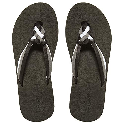 chitobae Flip Flops for Women, Hand-Braided Slippers with Arch Support (US 11, Black White Grey)