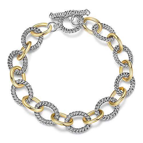 Mytys Cable Bracelet 2-tone Circles Chain Silver and Gold Wire Bangle Designer Inspired Bracelets for Women