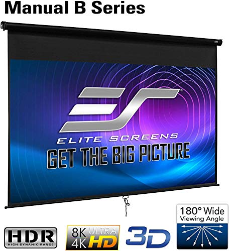 Elite Screens Manual B, 120-INCH, Manual Pull Down Projector Projection Screen 4K / 8K Ultra HDR 3D Ready with Slow Retract Mechanism, 2-Year Warranty, M120H