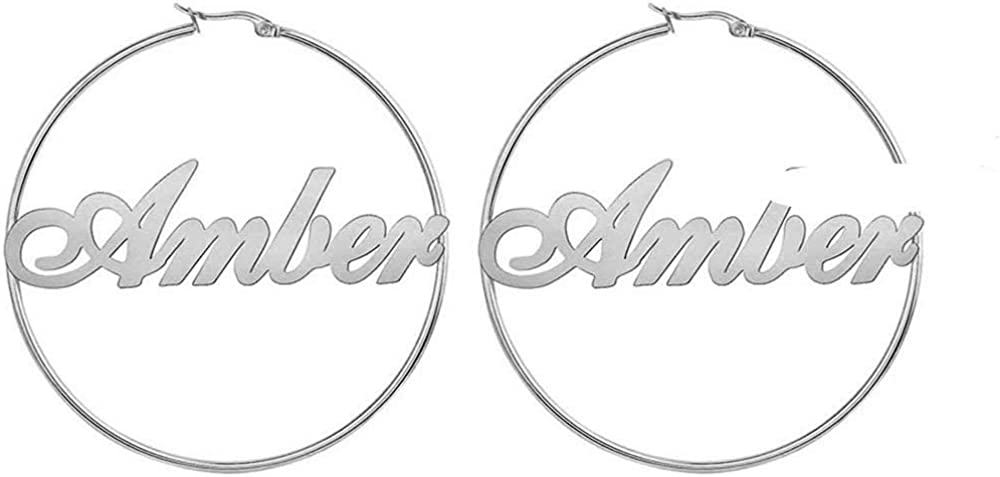 Personalized Name Hoop Earrings Custom Made with any Name Initial Letter Earrings Monogram