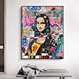 Mona Lisa Street Graffiti Art Posters e Impresiones Divertido Lienzo Pintura Cuadro de Arte de Pared para Sala de Estar Decoración del hogar 70x90cm / 27.5'x35.4 Sin Marco