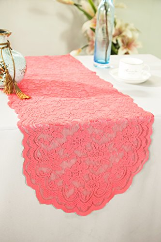Wedding Linens Inc. Wholesale 13.5 in x108 in Lace Table Runner Wedding Table Runner for Wedding Décor Events Banquet Party Supplies - Coral