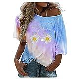 Camiseta de verano para mujer con degradado de color, manga corta, tie-dye letter, estampado de flores, elegante, básica, cuello redondo, color rojo, azul, morado, amarillo, tallas S-XXL azul S