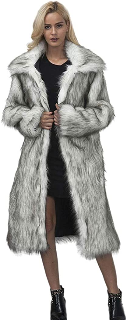 El Paso Mall RomanticDesign Women's New arrival Long Lapel Faux fur Shaggy Coat Jacket Wa