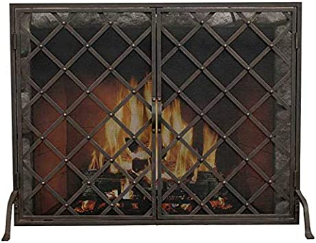 LJFPB Fireplace Screen Single Panel Spark Mesh Cover Baby Safety Fireguard Screen for Fireplace//Open Stove Gold 101x78.5x20cm Color : Gold