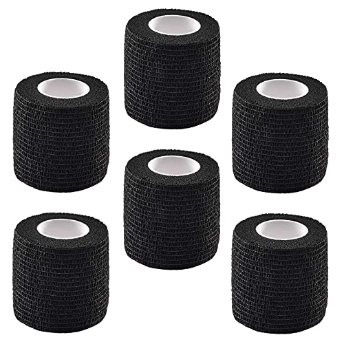 Jconly Tattoo Grip Cover 6pcs Disposable Self Adhering Elastic Non-Woven Bandage Wrap for Tattoo Handle Grip Tube,Postoperative Wound,Sports Protection (Black) … …