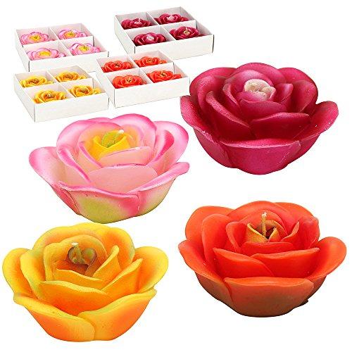 Unbekannt 4er Set Schwimmkerzen Rosen orange/gelb/pink/Bordeaux geflammt 4-Fach sort. 7 x 7 x 3 cm im Set