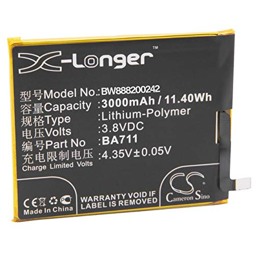 vhbw Litio polímero batería 3000mAh (3.8V) para móvil Smartphone teléfono Meizu Blue Charm 6, M6, M6 Dual SIM, M6 Dual SIM TD-LTE, M711C, M711M, M711Q