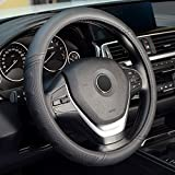 Labbyway Universal 15 inch Microfiber Leather Auto Car Steering Wheel Cover, for SUVS,Vans,Trucks (Black)