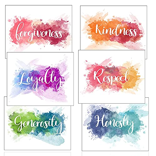 Istrion Inspirational Wall Art Poster – Motivational Colorful Wall Decor, Best Human Qualities Watercolor Canvas Abstract, Office, Classroom, Gym Decor, Set of 6 Prints 8x10in Unframed - Set 2