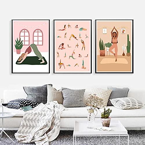 Tranquilo Woman Life Yoga Black Girl House Planta Cartel nórdico Arte de la pared Pintura de la lona Cuadros de la pared para la sala de estar-50x70cmx3 Sin marco