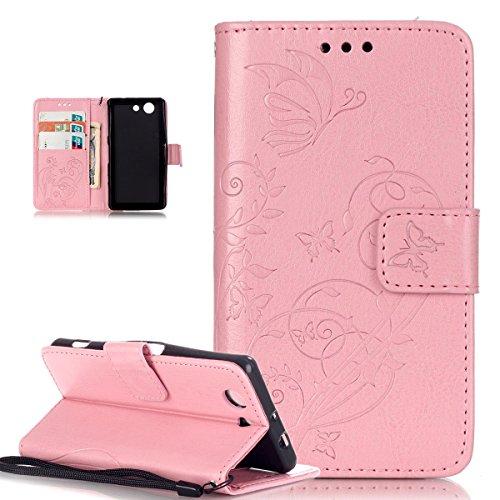 Sony Xperia Z3Compact Caso,Sony Xperia Z3Compact Funda,repujado de flores mariposas piel sintética plegable tipo cartera,funda de piel tipo cartera con función atril tarjeta de Crédito ID so