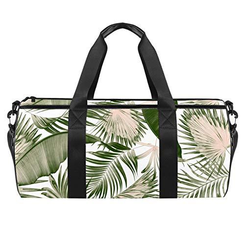 KAIXINJIUHAO Bolsa de lona de 45,72 cm, tamaño extragrande, con correa ajustable para el hombro, hojas verdes de palmera en blanco