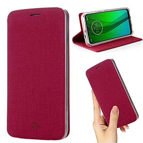 weier Flip Case for Motorola Moto G7 / G7 Plus,Premium Thin Case Wallet with Card Holder Stand Design Clear TPU Bumper Full Body Protective Leather phone Cover for Moto G7 / G7 Plus (Rose)