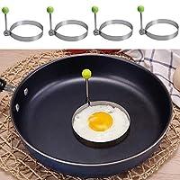 Lovesole 4個入り 目玉焼き金型 目玉焼リング エッグリング 卵フライヤー 卵リング ステンレス製 柄手付き 円形シェイパー型 家庭用キッチン調理ツール お菓子作り 手作り DIY