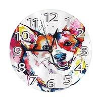 油絵ケキ犬の壁時計防水装飾時計ローマ数字の手が付いた軽量時計リビングルームの教室のパティオの寝室のための耐久性のある丸い壁時計
