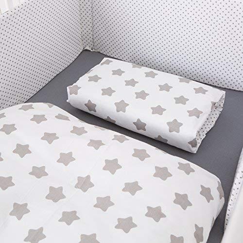 Puckdaddy Freya bedset - Baby beddengoed set voor babybedjes, omkeerbaar ontwerp met sterren & stippen patroon, 100% katoen, gemakkelijk te beheren en te onderhouden