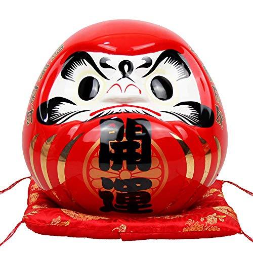 IUYJVR Esculturas 7.5 Pulgadas con Adorno japonés de Daruma, Hucha de cerámica, Banco de Monedas Maneki Neko Fortune Feng Shui Figurilla para decoración del hogar, Rojo